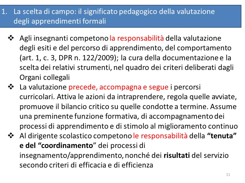 La scelta di campo: il significato pedagogico della valutazione