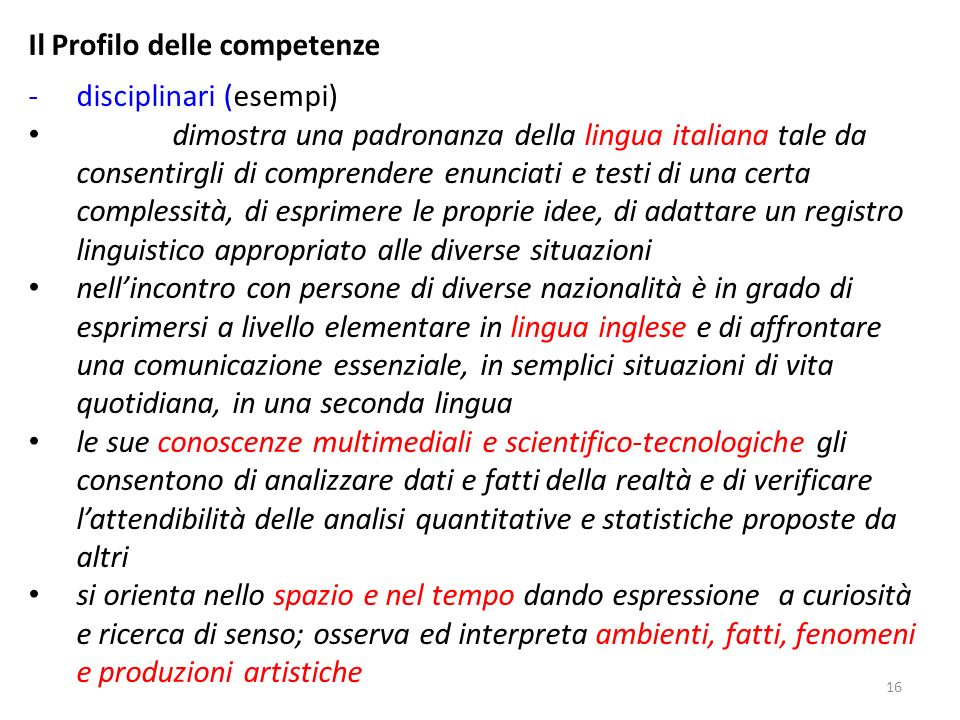 Il Profilo delle competenze disciplinari (esempi)