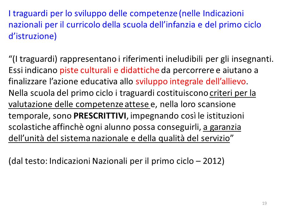 (dal testo: Indicazioni Nazionali per il primo ciclo – 2012)