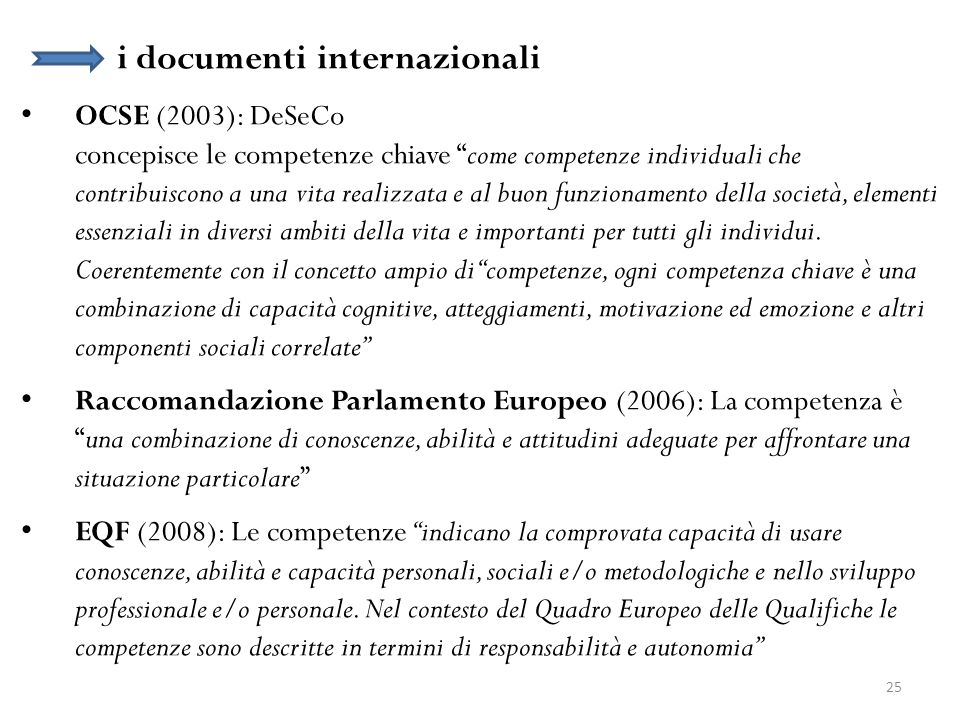 i documenti internazionali OCSE (2003): DeSeCo