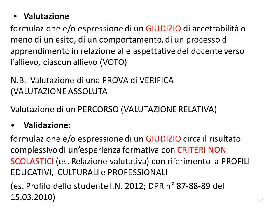 N.B. Valutazione di una PROVA di VERIFICA (VALUTAZIONE ASSOLUTA