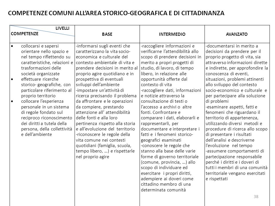 COMPETENZE COMUNI ALL'AREA STORICO-GEOGRAFICA E DI CITTADINANZA
