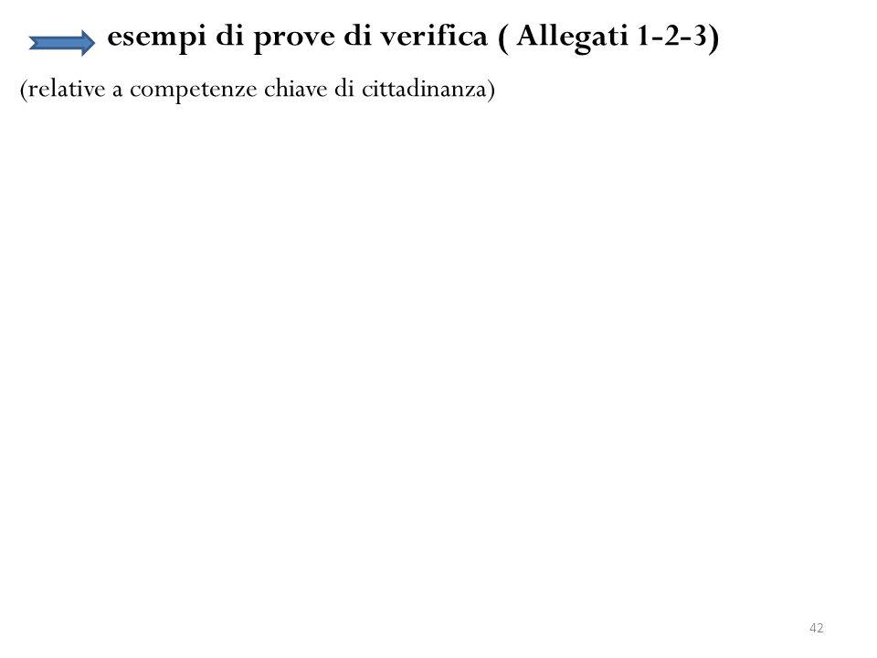 esempi di prove di verifica ( Allegati 1-2-3)