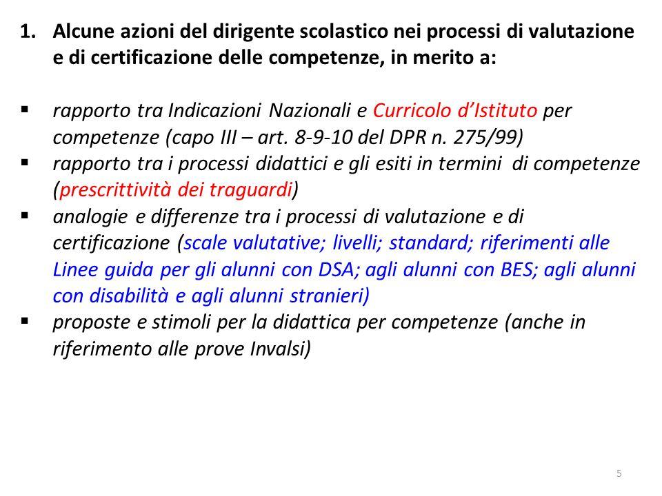 Alcune azioni del dirigente scolastico nei processi di valutazione e di certificazione delle competenze, in merito a: