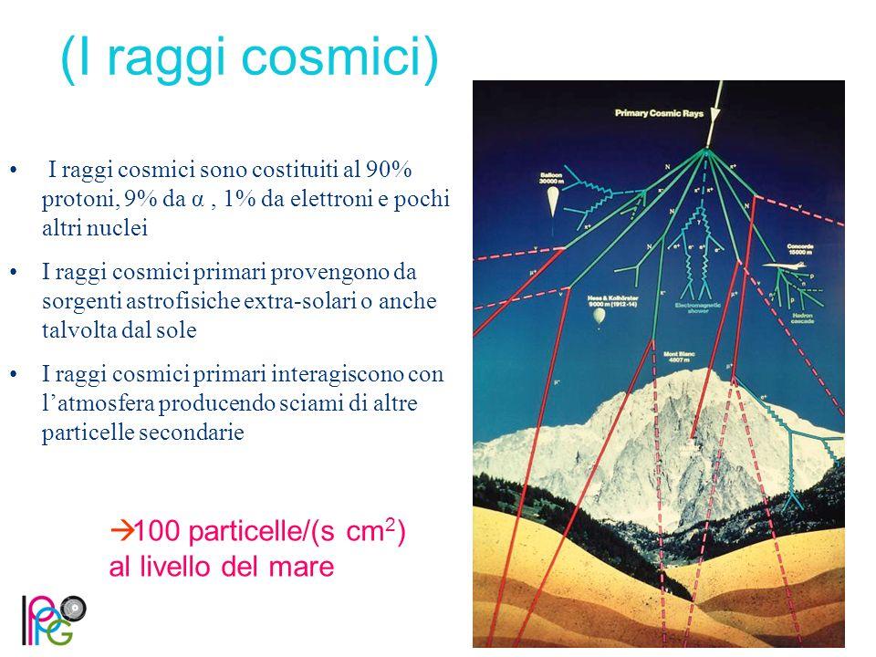 (I raggi cosmici) 100 particelle/(s cm2) al livello del mare