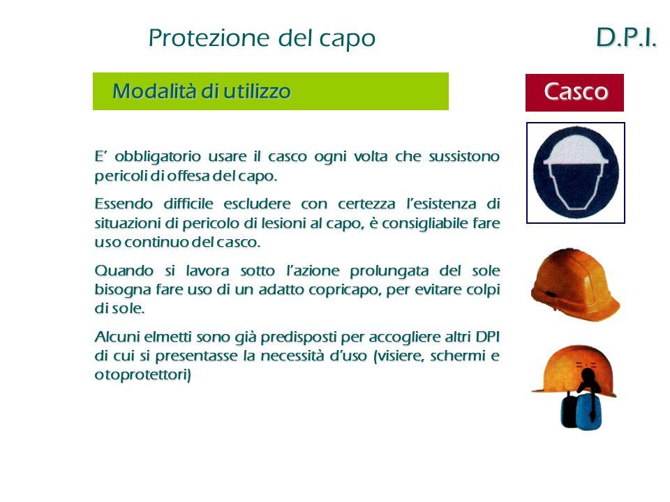Casco Protezione del capo D.P.I. Modalità di utilizzo