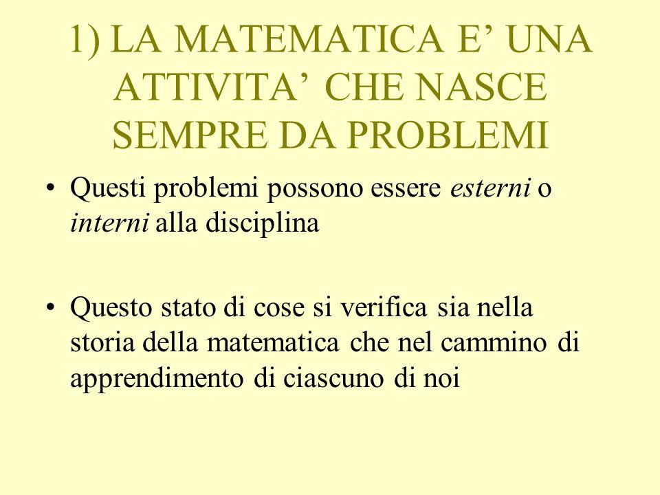 1) LA MATEMATICA E' UNA ATTIVITA' CHE NASCE SEMPRE DA PROBLEMI
