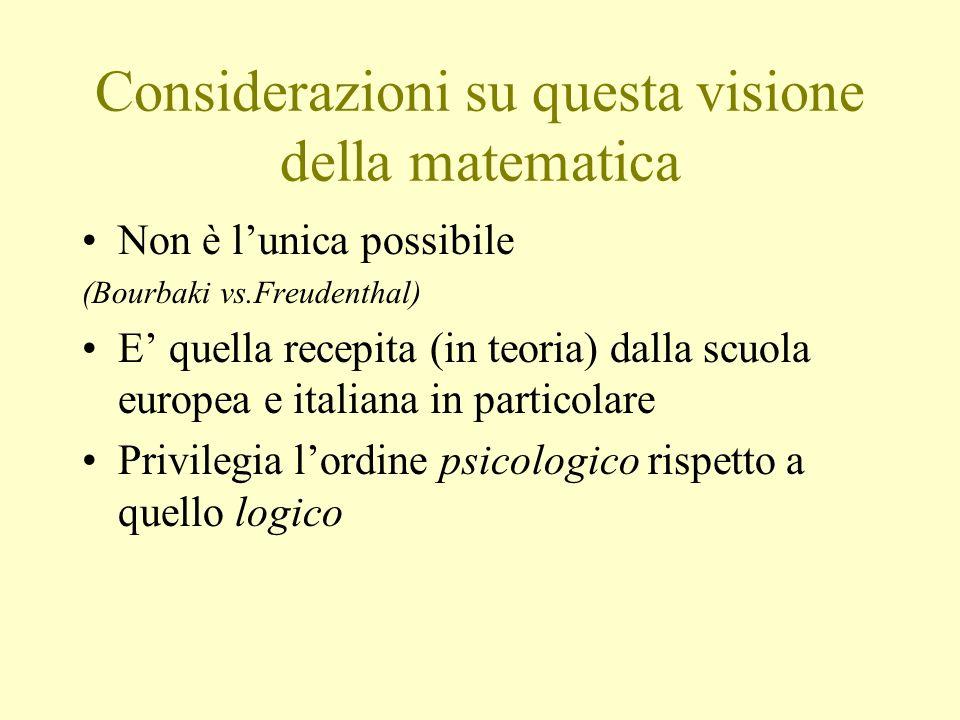Considerazioni su questa visione della matematica