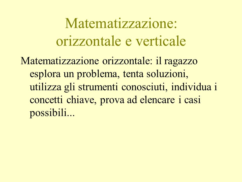 Matematizzazione: orizzontale e verticale