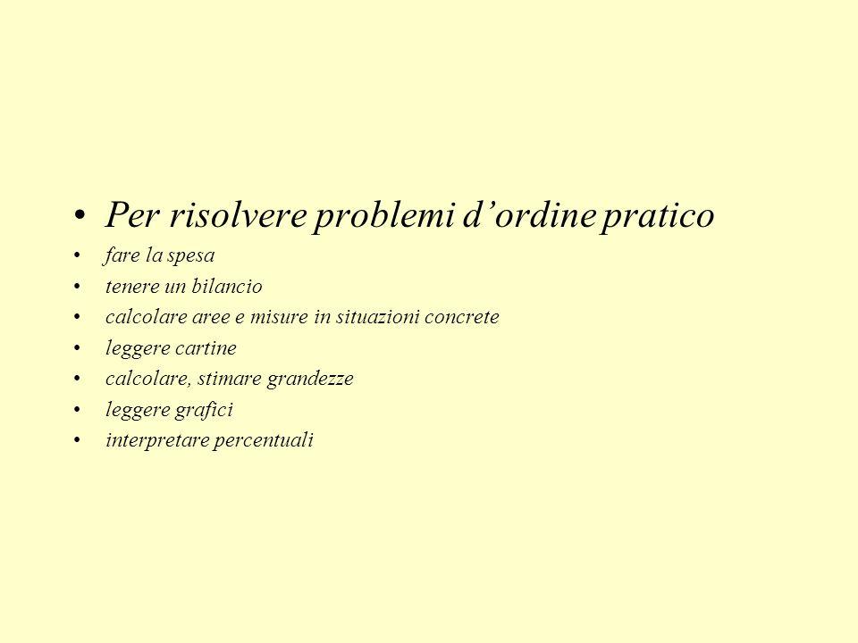 Per risolvere problemi d'ordine pratico