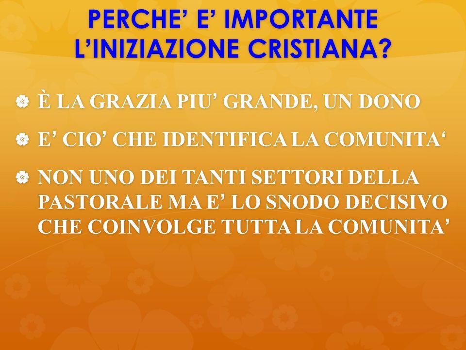 PERCHE' E' IMPORTANTE L'INIZIAZIONE CRISTIANA