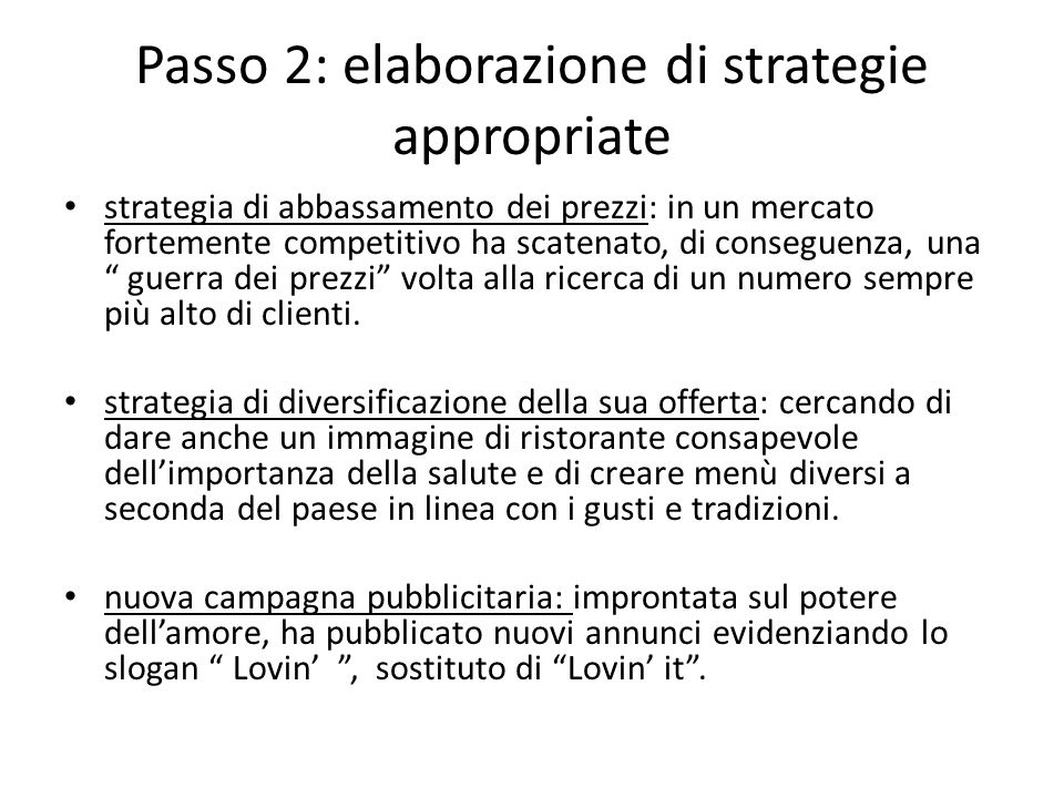 Passo 2: elaborazione di strategie appropriate