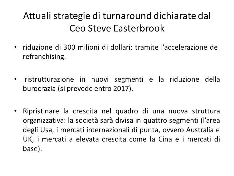 Attuali strategie di turnaround dichiarate dal Ceo Steve Easterbrook