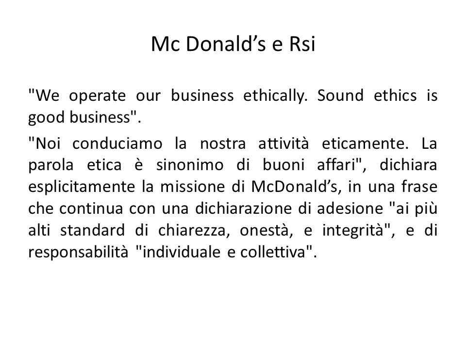 Mc Donald's e Rsi
