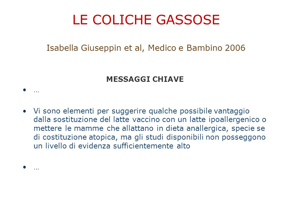 LE COLICHE GASSOSE Isabella Giuseppin et al, Medico e Bambino 2006