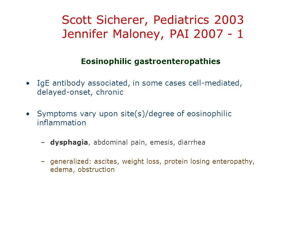 Scott Sicherer, Pediatrics 2003 Jennifer Maloney, PAI 2007 - 1