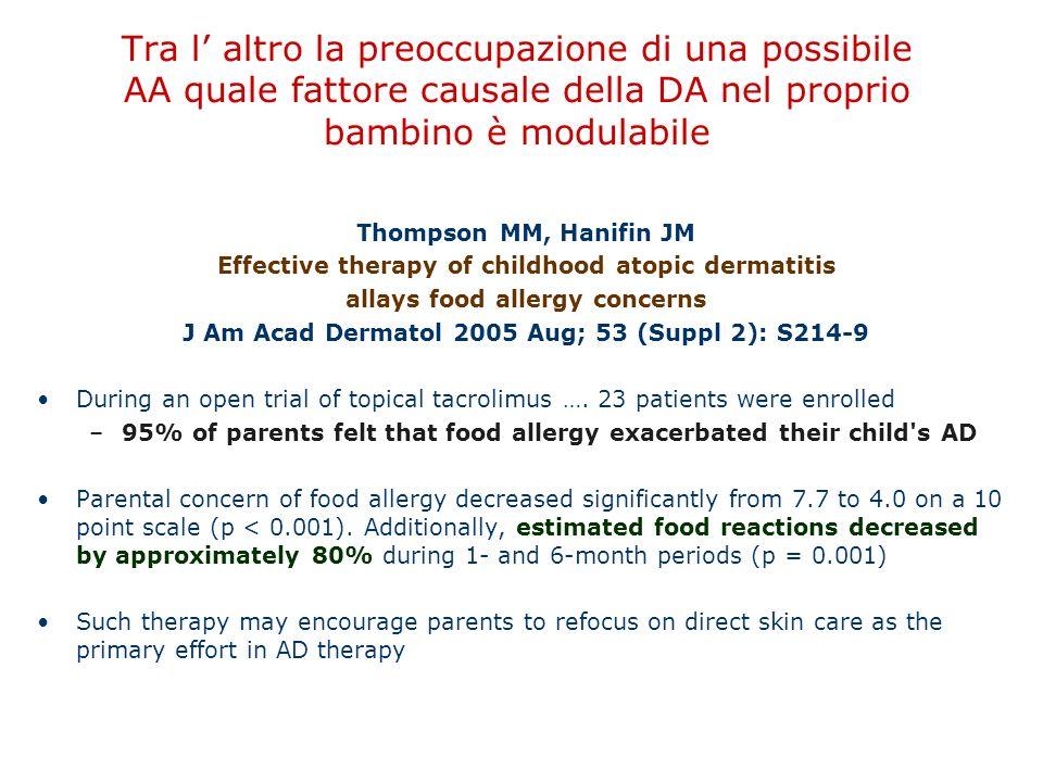 Tra l' altro la preoccupazione di una possibile AA quale fattore causale della DA nel proprio bambino è modulabile