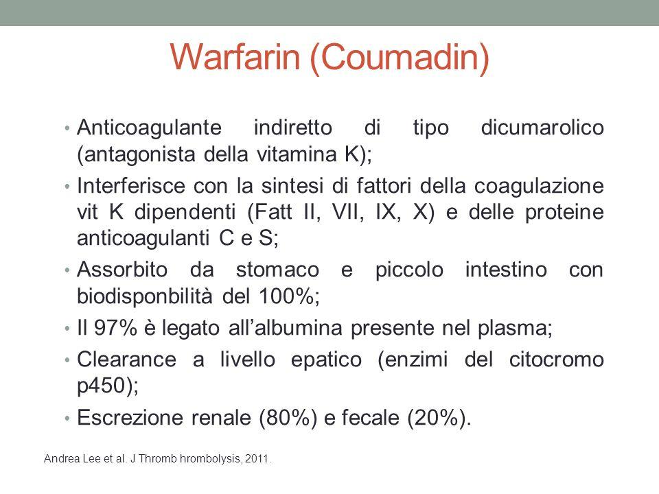 Warfarin (Coumadin) Anticoagulante indiretto di tipo dicumarolico (antagonista della vitamina K);
