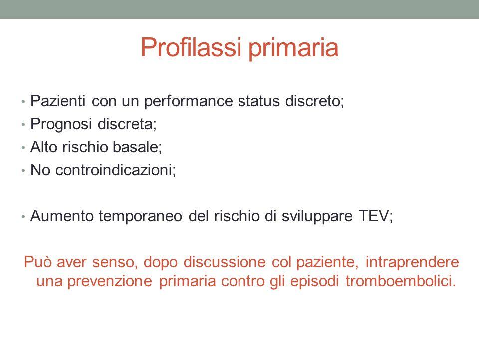 Profilassi primaria Pazienti con un performance status discreto;