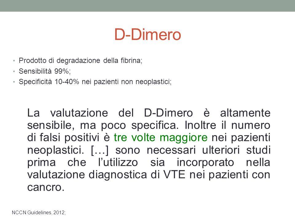D-Dimero Prodotto di degradazione della fibrina; Sensibilità 99%; Specificità 10-40% nei pazienti non neoplastici;