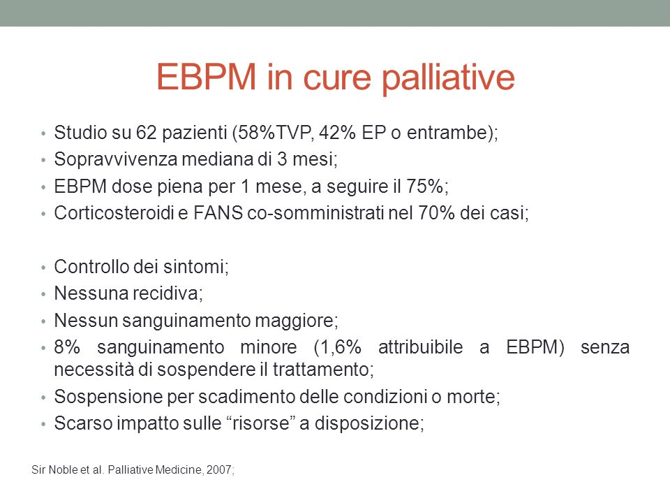 EBPM in cure palliative