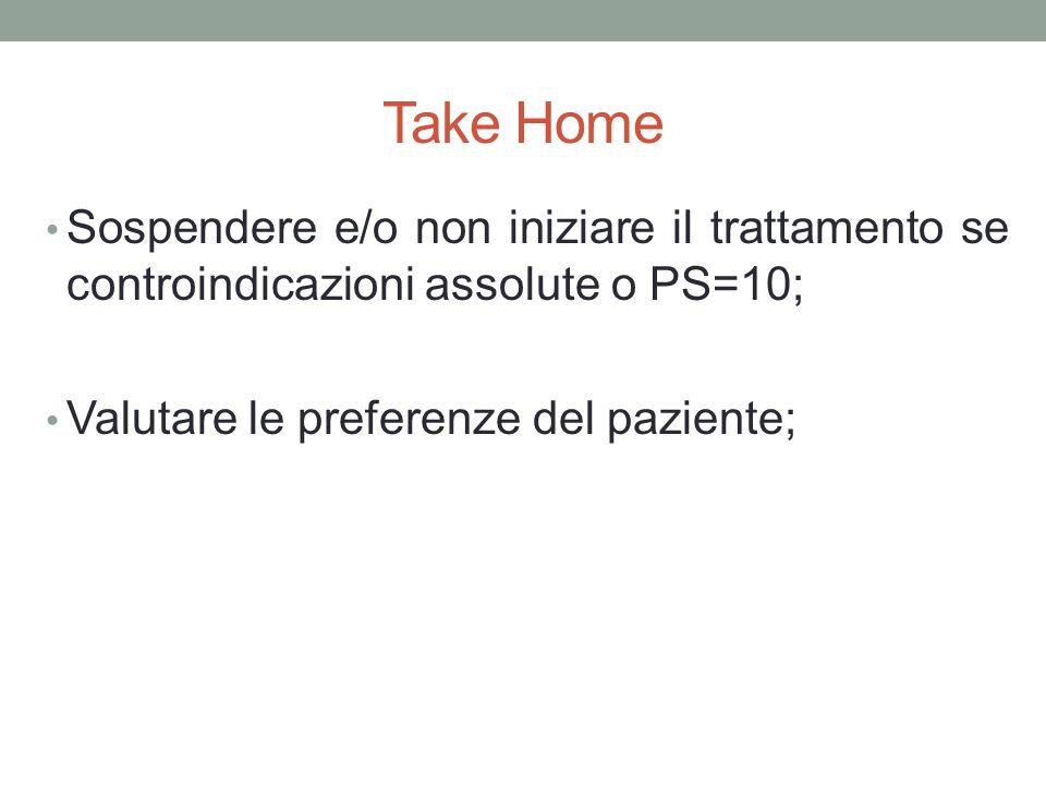 Take Home Sospendere e/o non iniziare il trattamento se controindicazioni assolute o PS=10; Valutare le preferenze del paziente;