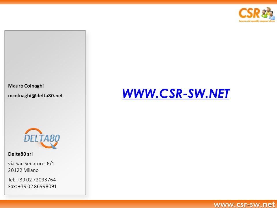 WWW.CSR-SW.NET Mauro Colnaghi mcolnaghi@delta80.net Delta80 srl