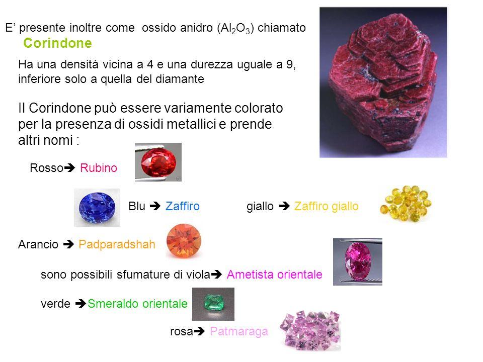 E' presente inoltre come ossido anidro (Al2O3) chiamato Corindone