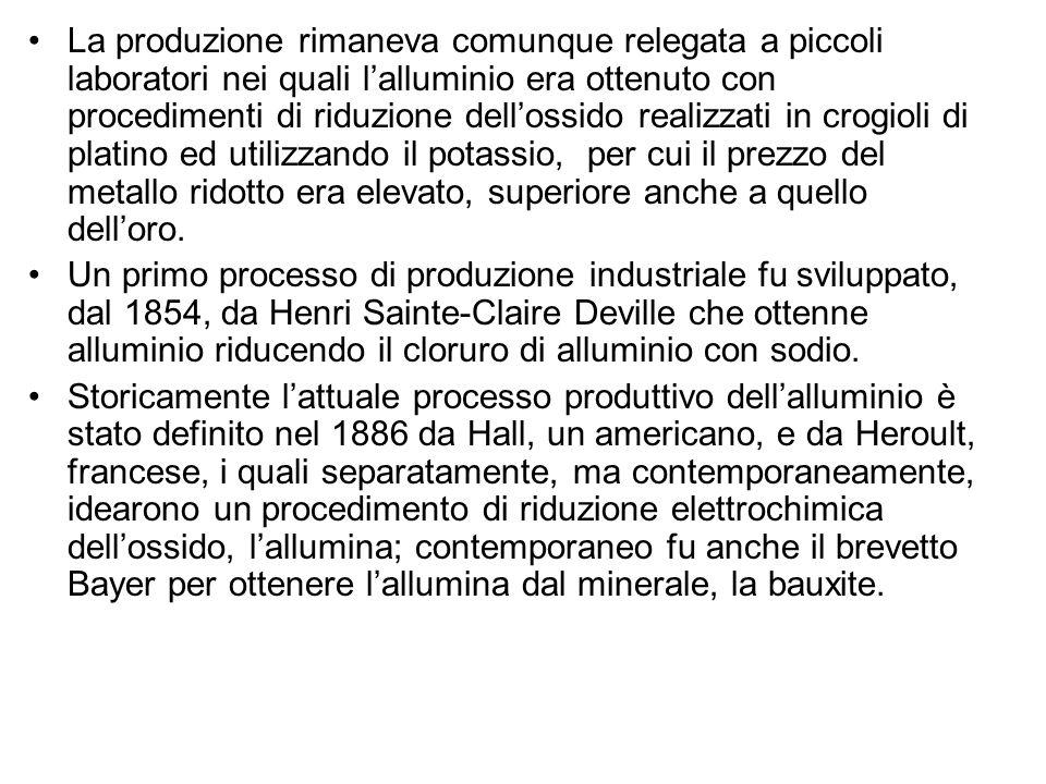 La produzione rimaneva comunque relegata a piccoli laboratori nei quali l'alluminio era ottenuto con procedimenti di riduzione dell'ossido realizzati in crogioli di platino ed utilizzando il potassio, per cui il prezzo del metallo ridotto era elevato, superiore anche a quello dell'oro.