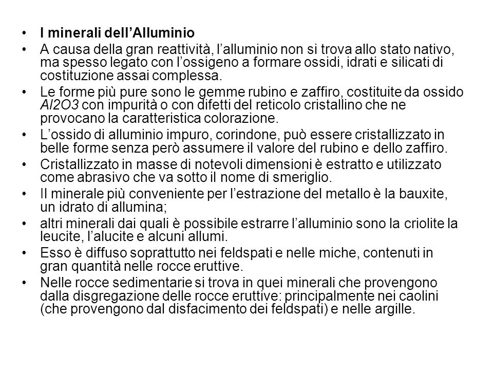 I minerali dell'Alluminio