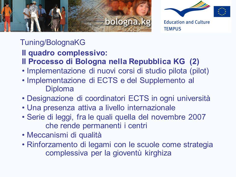 Tuning/BolognaKG Il quadro complessivo: Il Processo di Bologna nella Repubblica KG (2) Implementazione di nuovi corsi di studio pilota (pilot)