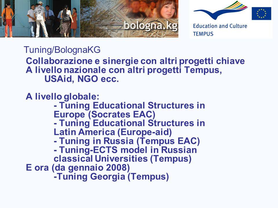 Tuning/BolognaKG Collaborazione e sinergie con altri progetti chiave. A livello nazionale con altri progetti Tempus, USAid, NGO ecc.