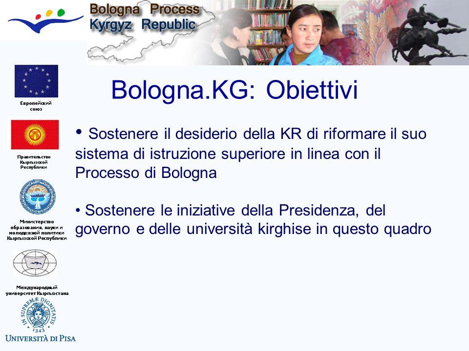Bologna.KG: Obiettivi Sostenere il desiderio della KR di riformare il suo sistema di istruzione superiore in linea con il Processo di Bologna.