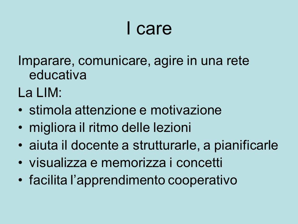 I care Imparare, comunicare, agire in una rete educativa La LIM: