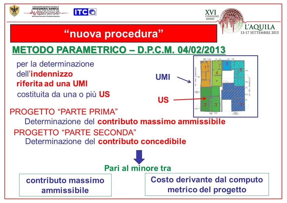 nuova procedura METODO PARAMETRICO – D.P.C.M. 04/02/2013