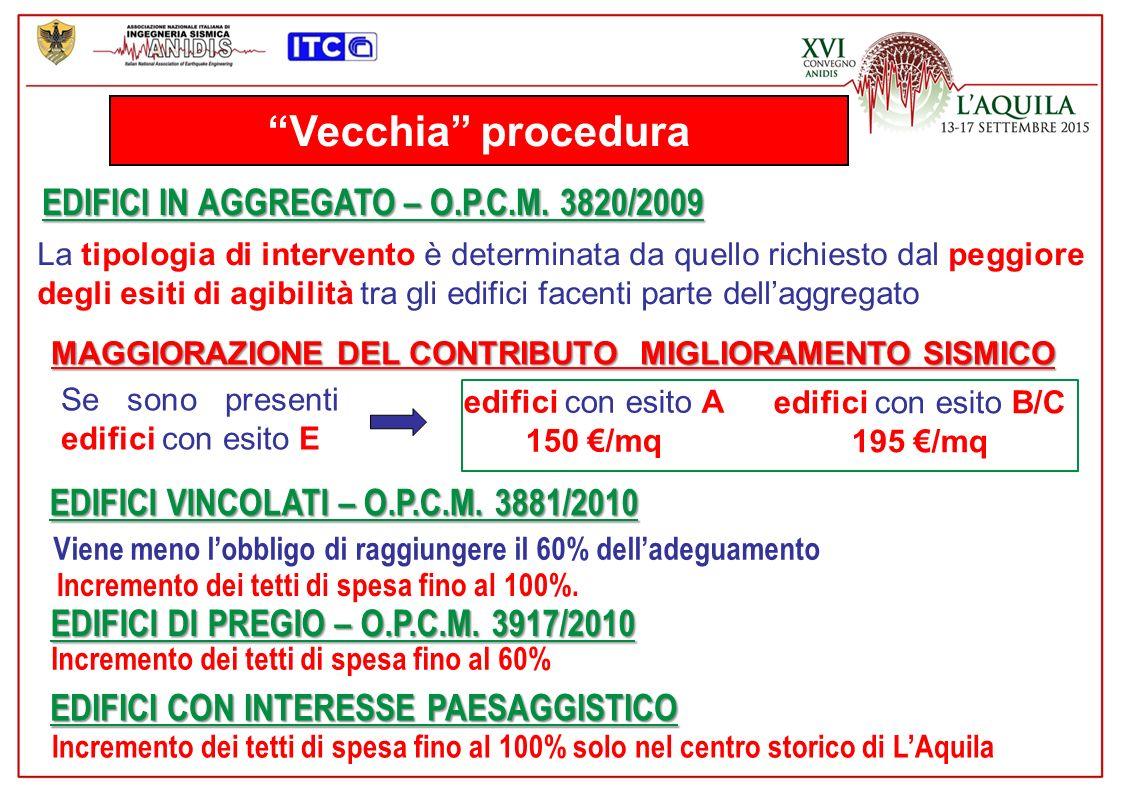 Vecchia procedura EDIFICI IN AGGREGATO – O.P.C.M. 3820/2009