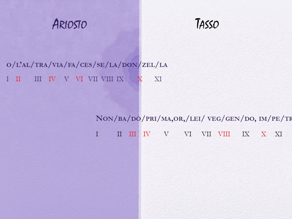 Ariosto Tasso o/l'al/tra/via/fa/ces/se/la/don/zel/la