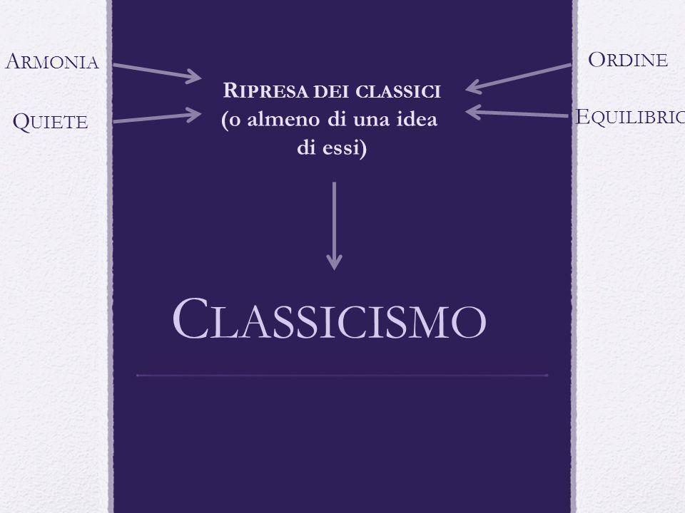 Classicismo Armonia Ordine Ripresa dei classici (o almeno di una idea