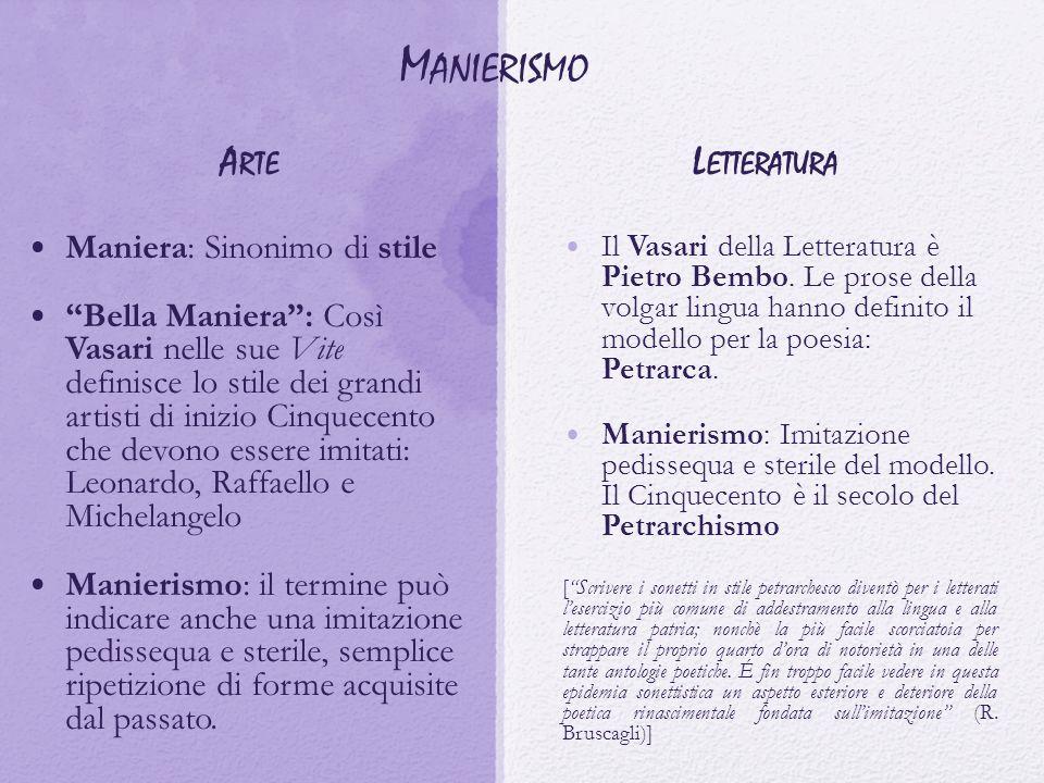 Manierismo Arte Letteratura Maniera: Sinonimo di stile