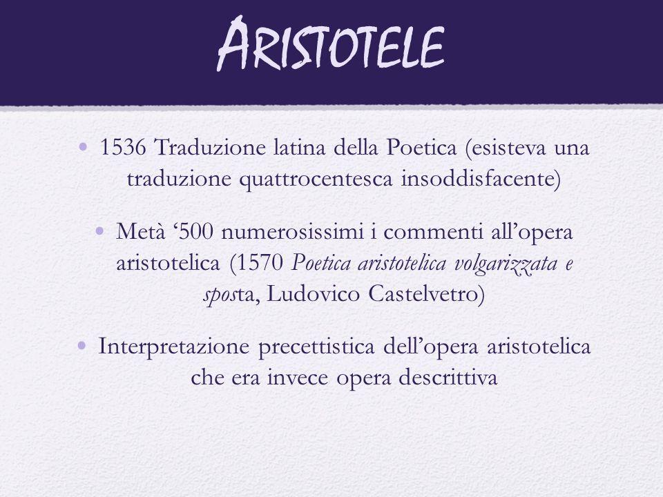 Aristotele 1536 Traduzione latina della Poetica (esisteva una traduzione quattrocentesca insoddisfacente)