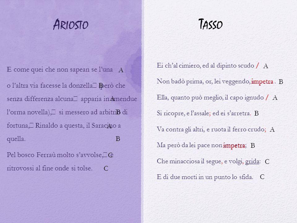 Ariosto Tasso E come quei che non sapean se l'una A A
