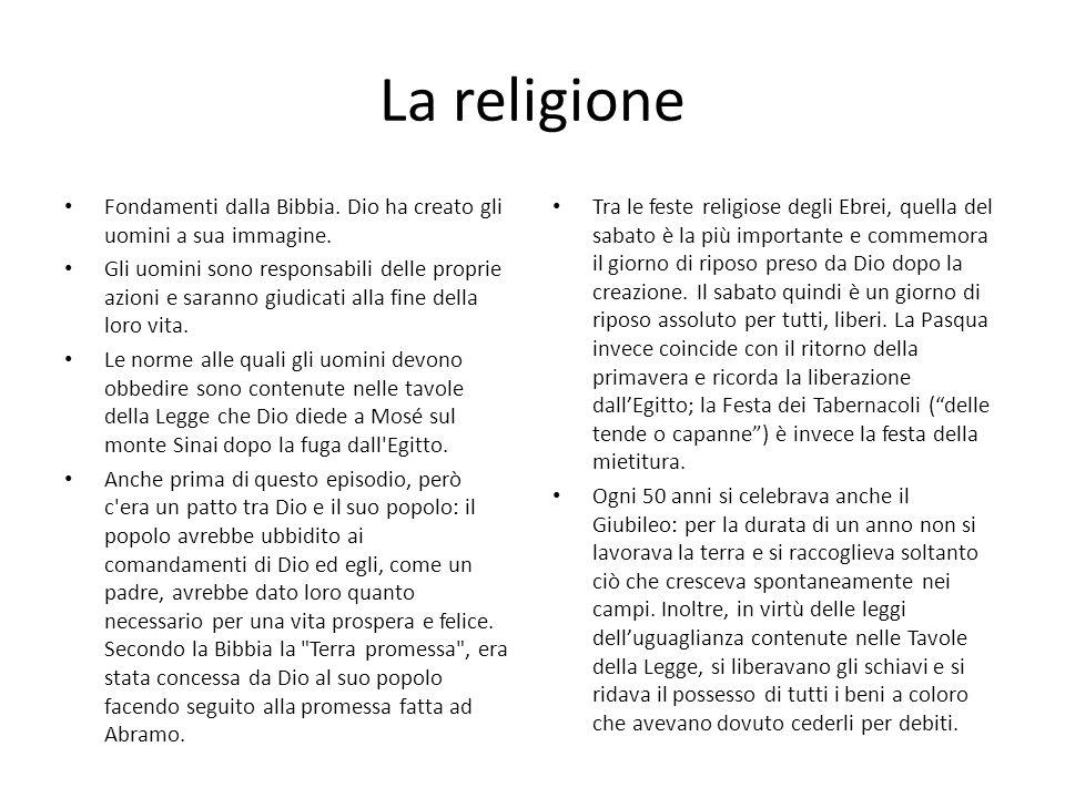 La religione Fondamenti dalla Bibbia. Dio ha creato gli uomini a sua immagine.