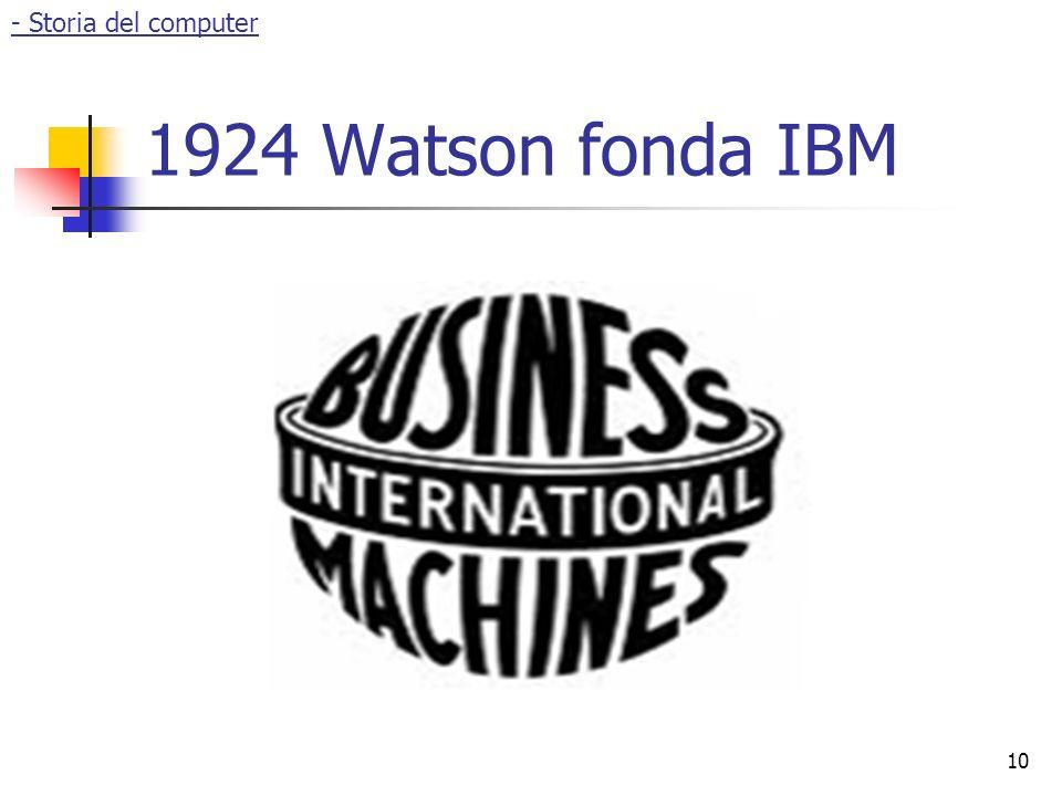 - Storia del computer 1924 Watson fonda IBM