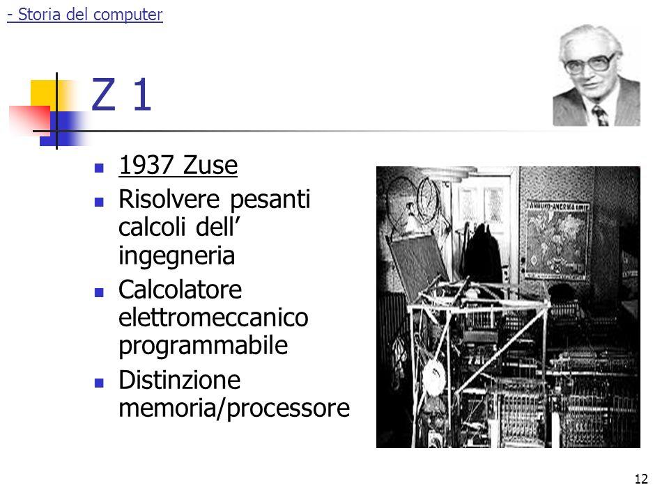 Z 1 1937 Zuse Risolvere pesanti calcoli dell' ingegneria