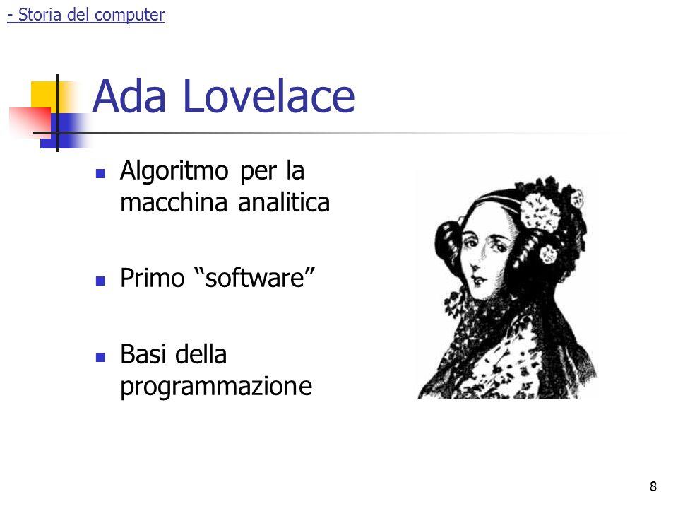 Ada Lovelace Algoritmo per la macchina analitica Primo software