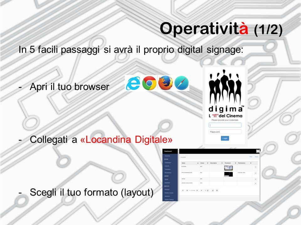 Operatività (1/2) In 5 facili passaggi si avrà il proprio digital signage: Apri il tuo browser. Collegati a «Locandina Digitale»