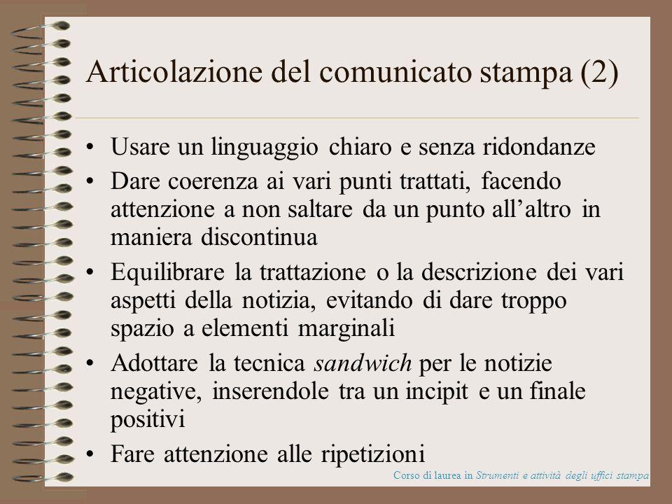 Articolazione del comunicato stampa (2)