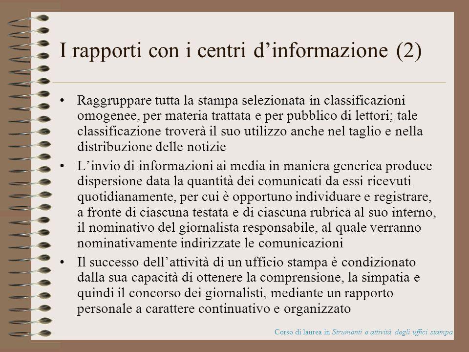 I rapporti con i centri d'informazione (2)