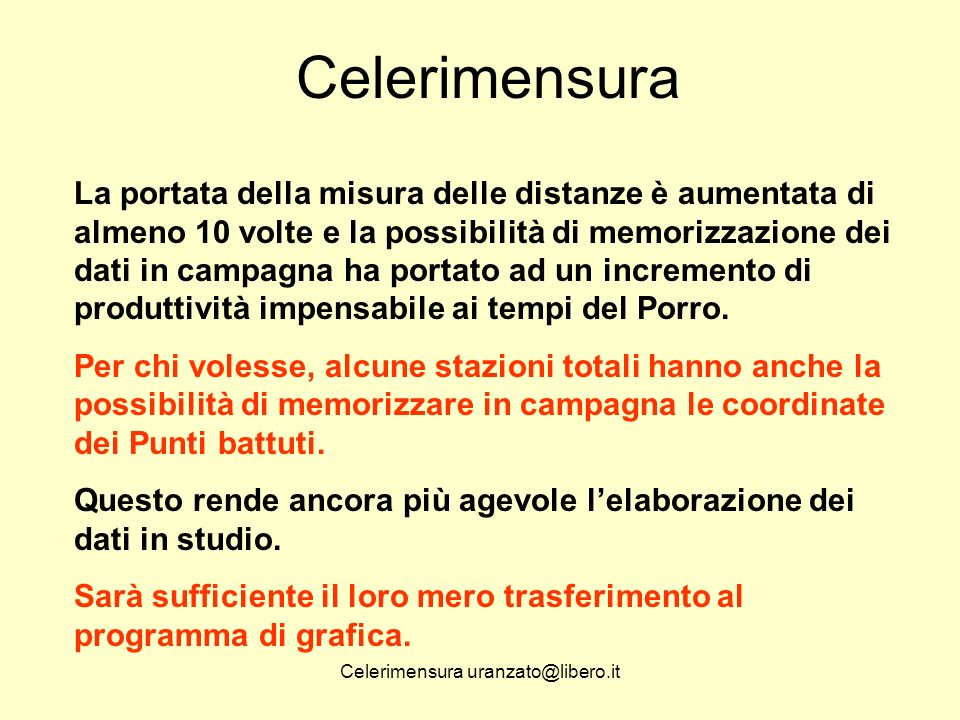 Celerimensura uranzato@libero.it