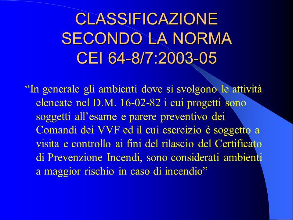 CLASSIFICAZIONE SECONDO LA NORMA CEI 64-8/7:2003-05